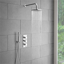 Cruze Round Triple Thermostatic Valve with Round Shower Head + Handset Medium Image