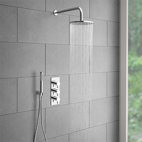 Cruze Round Triple Thermostatic Valve with Round Shower Head + Handset