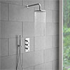 Cruze Round Triple Thermostatic Valve with Round Shower Head + Handset profile small image view 1