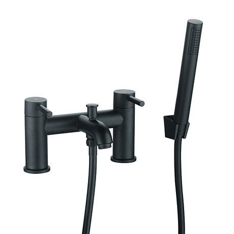 Arezzo Round Matt Black Bath Shower Mixer Tap inc. Shower Kit