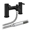 Arezzo Round Matt Black Bath Shower Mixer Tap Inc. Shower Kit profile small image view 1
