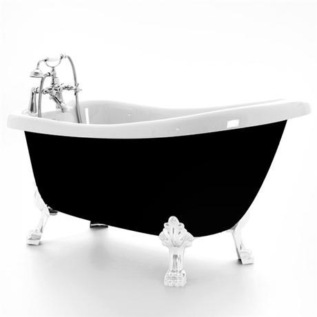 Royce Morgan Crystal 1680 Black Freestanding Bath with Waste