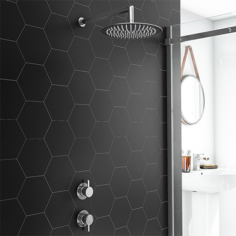 Cruze Round Concealed Individual Stop Tap + Thermostatic Control Valve with 300mm Shower Head