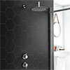 Cruze Round Concealed Individual Stop Tap + Thermostatic Control Valve with 300mm Shower Head profile small image view 1