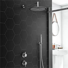 Cruze Round Concealed Individual Diverter + Thermostatic Control Valve with Handset + 300mm Shower Head