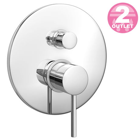 Cruze Modern Concealed Manual Shower Valve with Diverter - Chrome