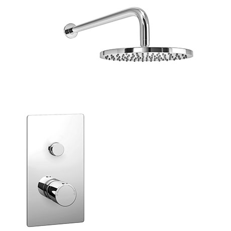 Cruze Round Concealed Push-Button Valve + Rainfall Shower Head