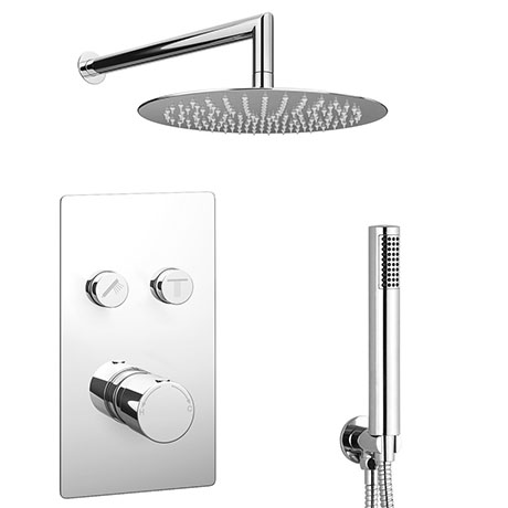 Cruze Round Push-Button Shower Valve Pack with Handset + Rainfall Shower Head
