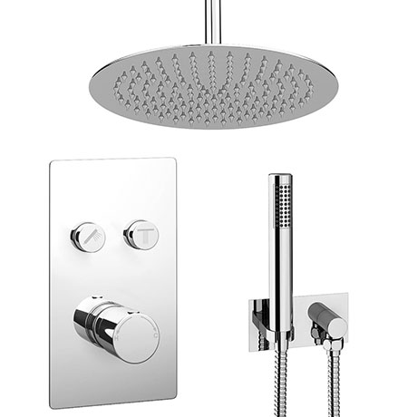 Cruze Round Push-Button Ceiling Mounted Shower Pack (with Handset + Rainfall Shower Head