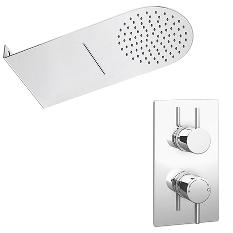 Cruze Shower Package with Valve + Flat Dual Fixed Shower Head (Waterfall / Rainfall)