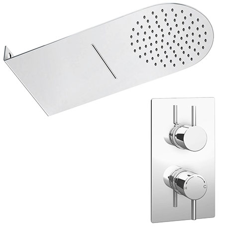 Cruze Shower Package with Valve + Flat Dual Fixed Shower Head (Waterfall + Rainfall)
