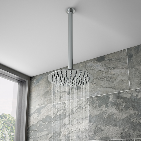 Cruze Ultra Thin Round Shower Head with Vertical Arm - 200mm