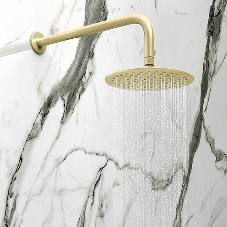 Arezzo Round 200mm Brushed Brass Fixed Shower Head + Wall Mounted Arm