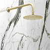 Arezzo Round 200mm Brushed Brass Fixed Shower Head + Wall Mounted Arm profile small image view 1
