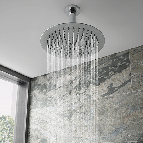 Cruze Ultra Thin Round Shower Head with Short Vertical Arm - 300mm