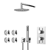Cruze Round Modern Shower System with Handset, 4 Body Jets + 200mm Shower Head profile small image view 1