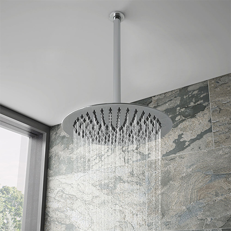 Cruze Ultra Thin Round Shower Head with Vertical Arm - 300mm