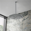 Cruze Ultra Thin Round Shower Head with Vertical Arm - 300mm profile small image view 1