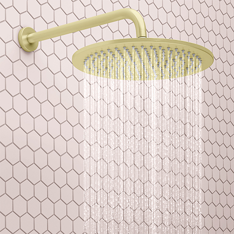 Arezzo Round 300mm Brushed Brass Fixed Shower Head + Wall Mounted Arm