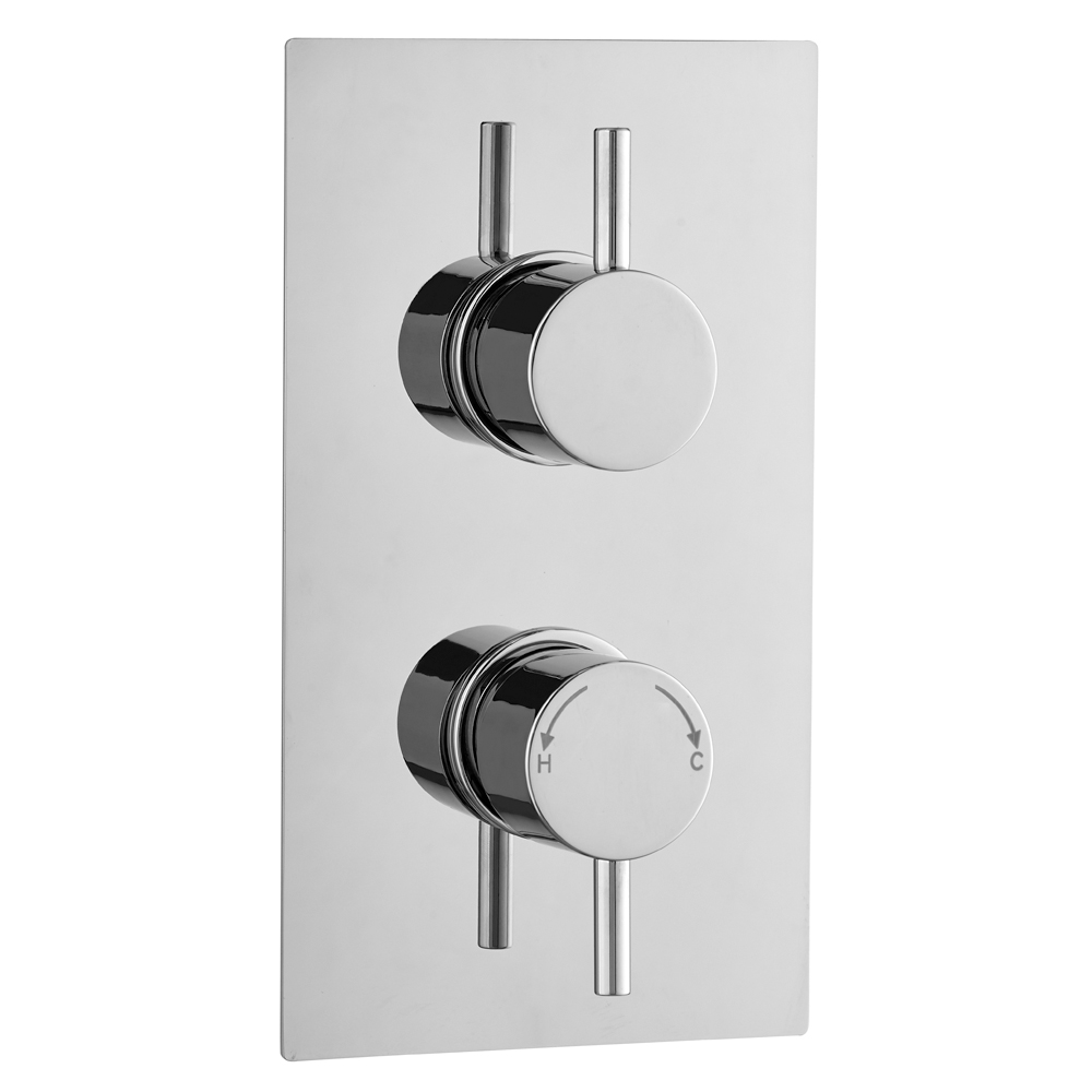 Cruze Round Thermostatic 3 Way Concealed Shower Valve with Diverter - Chrome