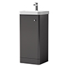 Cruze 400mm Curved Gloss Grey Vanity Unit profile small image view 1