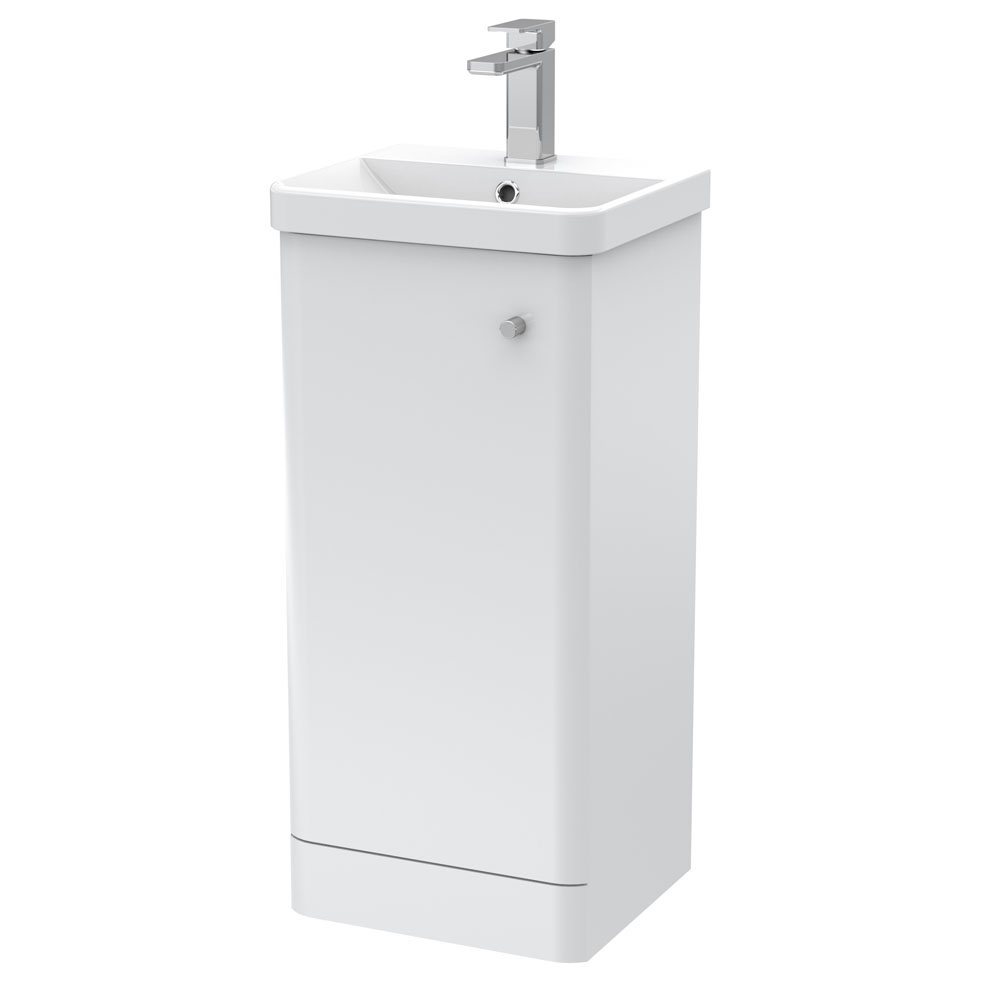 Cruze 400mm Curved Gloss White Vanity Unit