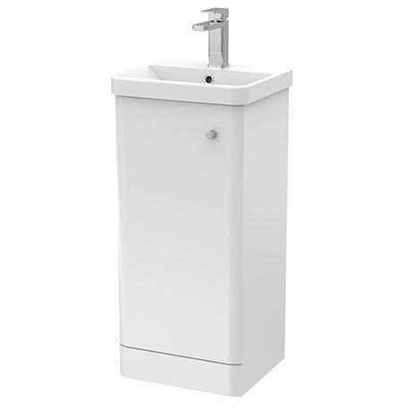Cruze 400mm Curved Gloss White Vanity Unit