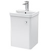 Cruze 400mm Curved Gloss White Wall Hung Vanity Unit profile small image view 1