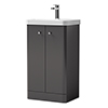 Cruze Curved Vanity Unit - 500mm - Gloss Grey profile small image view 1