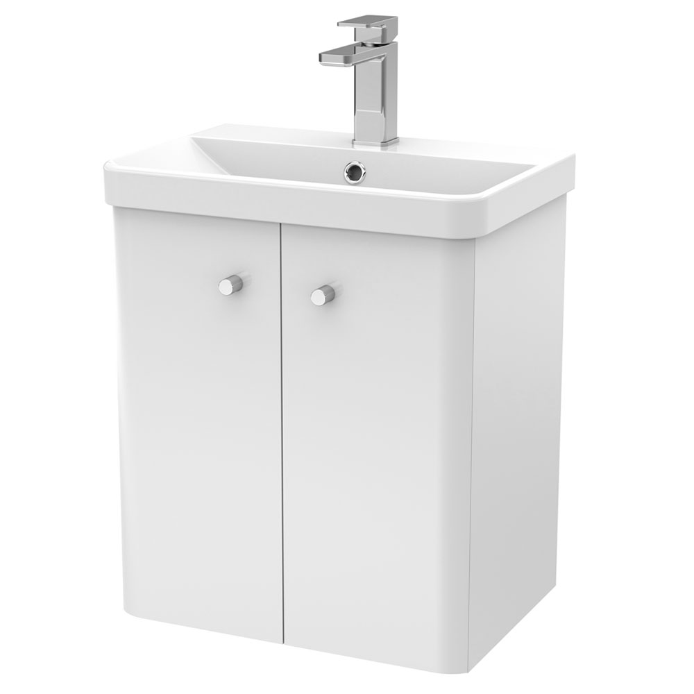 Cruze 500mm Curved Gloss White Wall Hung Vanity Unit