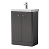 Cruze Curved Vanity Unit - 600mm - Gloss Grey profile small image view 1