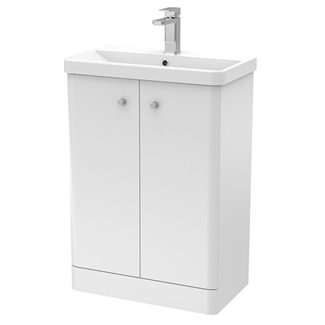 Cruze 600mm Curved Gloss White Vanity Unit