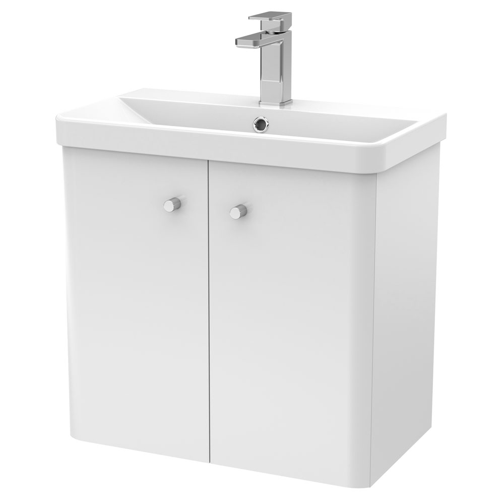 Cruze 600mm Curved Gloss White Wall Hung Vanity Unit