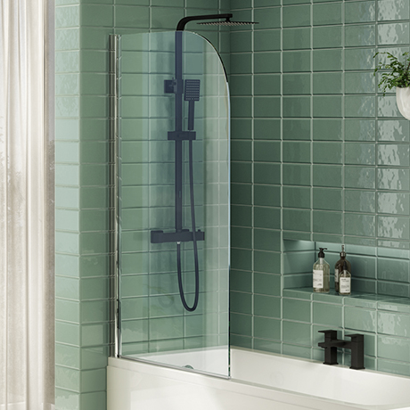 Cruze Hinged Curved Top Bath Screen (790 x 1400mm)