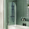 Cruze Hinged Curved Top Bath Screen (790 x 1400mm) profile small image view 1