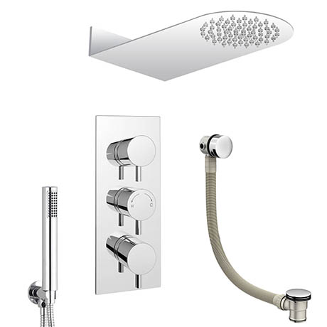 Cruze Modern Shower Package (Fixed Head, Round Handset + Overflow Bath Filler)