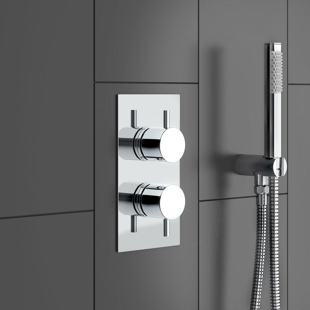 Cruze Twin Shower Valve Inc. Outlet Elbow, Handset & Ultra Thin Head with Vertical Arm Profile Large Image