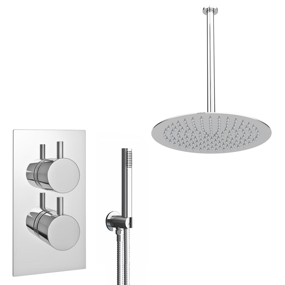 Cruze Twin Shower Valve Inc. Outlet Elbow, Handset & Ultra Thin Head with Vertical Arm Large Image