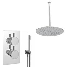 Cruze Twin Shower Valve Inc. Outlet Elbow, Handset & Ultra Thin Head with Vertical Arm Medium Image