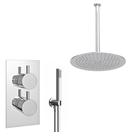Cruze Twin Shower Valve Inc. Outlet Elbow, Handset & Ultra Thin Head with Vertical Arm