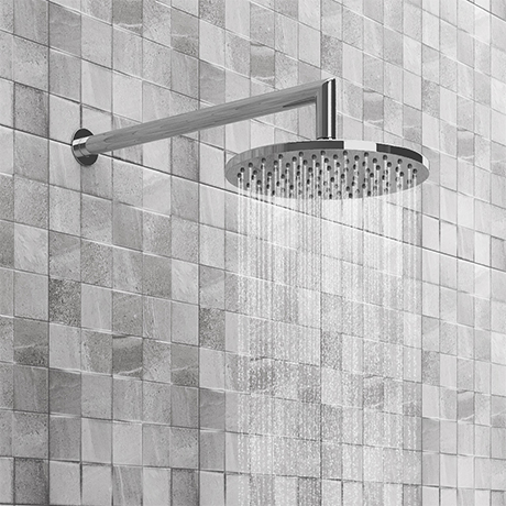 Cruze Round Shower Head with Wall Mounted 90 Degree Bend Arm - 200mm