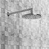 Cruze Round Shower Head with Wall Mounted 90 Degree Bend Arm - 200mm profile small image view 1