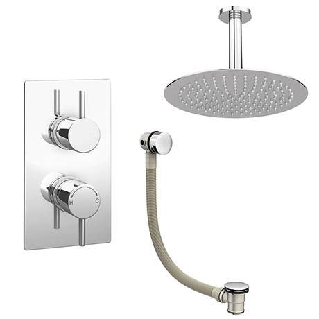 Cruze Modern Shower Package (Fixed Shower Head + Overflow Bath Filler)