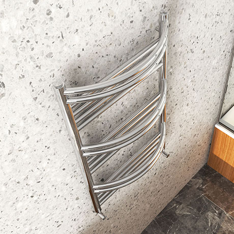 Cruze Curved Heated Towel Rail - W504mm x H850mm- Chrome