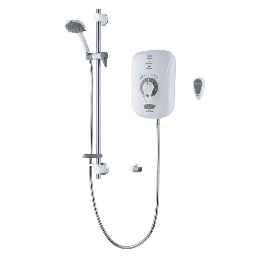 Triton Safeguard+ 8.5kW Thermostatic Electric Shower & Grab Riser Kit with Remote - CSGP08WGRBRSS Large Image