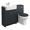 Chatsworth Traditional Graphite Semi-Recessed Vanity Unit + Toilet Package profile small image view 1