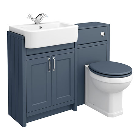 Chatsworth Traditional Blue Semi-Recessed Vanity Unit + Toilet Package