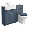 Chatsworth Traditional Blue Semi-Recessed Vanity Unit + Toilet Package profile small image view 1