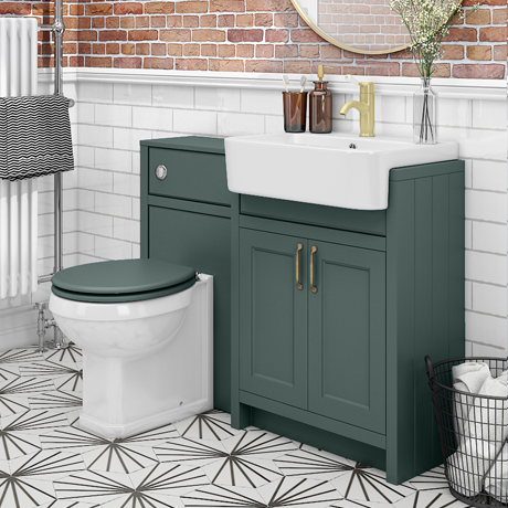 Chatsworth Traditional Green Semi-Recessed Vanity Unit + Toilet Package