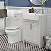 Chatsworth Traditional Grey Semi-Recessed Vanity Unit + Toilet Package profile small image view 1